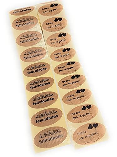 Lote de etiquetas adhesivas kraft Felicidades y Deseo que te guste para tu comercio