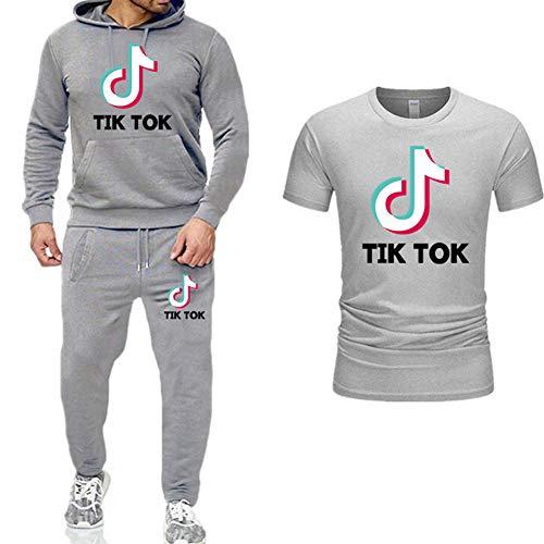 REGEN Ropa Deportiva 3 Sudadera con Capucha De Manga Larga Jogger TIK Tok Ropa Deportiva Estampada Ropa Deportiva Y Camiseta Ropa Deportiva Unisex/A/L