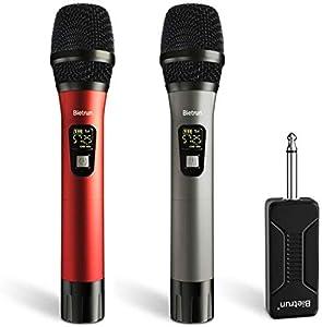 Bietrun UHF - Microfono senza fili con doppia mano in metallo, portata 50 m, microfono dinamico radio 6,35 mm e 3,5 mm, connettore per amplificatore mixer, impianto PA per karaoke matrimonio, festa