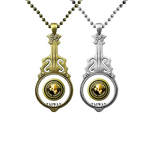 Logo Taiwan Lanterne Volanti Musica Chitarra Ciondolo Gioielli Collana Ciondolo Coppia