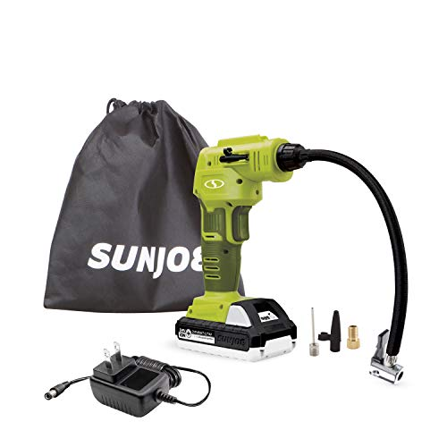 Sun Joe 24V-AJC-LTW 24-Volt Cordless Portable Air Compressor with Nozzle Adapters and Storage Bag, Kit (w/1.3-Ah Battery + Quick Charger)