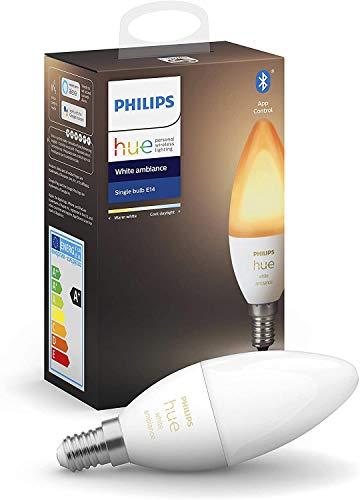 Philips Lighting Hue White Ambiance Lampadina Smart Attacco E14, con Bluetooth, da Luce Fredda a Calda 5.2 W, trasparente