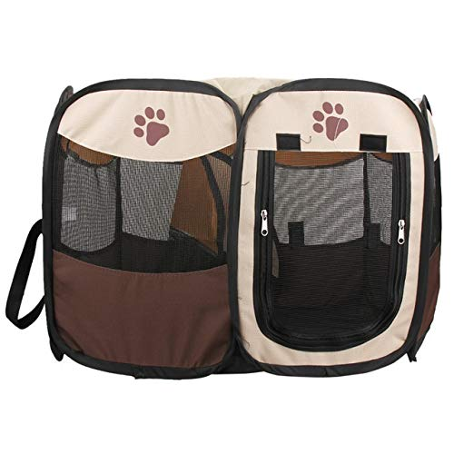 ZXF Pet Playpen Portable Foldable Pet Fence Indoor Outdoor Game Safe Guard Playpen Small Medium Animal Cage For Cat Dog (Color : Coffee)