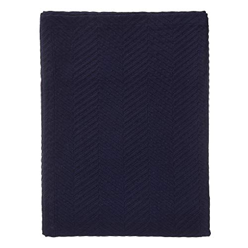 """URBANARA Tagesdecke """"Lixa"""" – 100prozent Reine Baumwolle, Dunkelblau, texturiertes Fischgrat – 180 x 230 cm, Überwurf, Decke, Bettüberwurf, Sofaüberwurf, Baumwolldecke"""