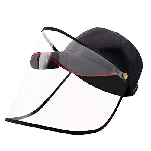 DRAKE18 Cappellino da Baseball Cappello Protettivo 2 in 1 Visiera Trasparente Rimovibile Contro la Nebbia Saliva Splash Tool attività all'aperto per Adulti,Nero