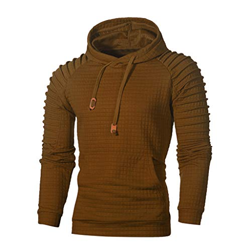 WUAI Clearance Men's Outdoors Jacket Running Sports Plaid Pullover Regular Fit Hooded Sweatshirt Casual Outwear (US Size L = Tag XL, Coffee)