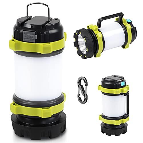 Lámpara de Cámping Linterna Cámping LED Recargable 3600mAh Regulable IP45 Resistente al Agua Linterna Potente de 4 Modos con Cable USB para Senderismo Garaje Rescate Bodega Pesca Emergencia