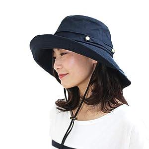[ドリームハッツ] 帽子 レディース uv 折りたたみ 大きいサイズ つば広 ひも UVカット帽子 Mサイズ(57.5cm) ネイビー