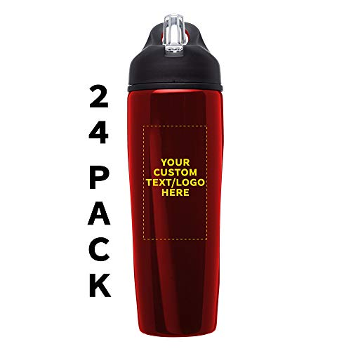 Custom Stainless Steel Water Bottle, 24 pack, Personalized Text, Logo, 28.5 oz Metal Sports Bottles with Flip Top, Easy Carrying, Red
