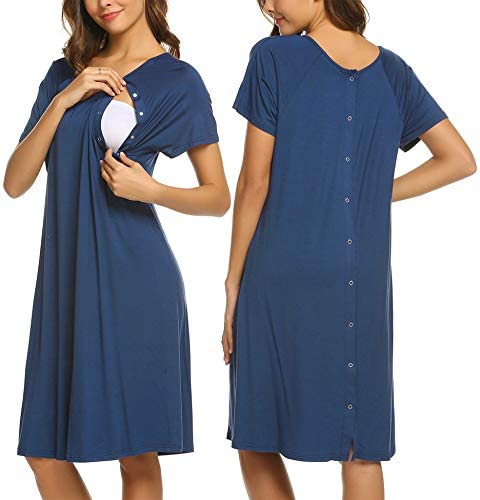 Ekouaer Breastfeeding Nightgown for Women Front Snap Nursing Gown Solid Soft Cotton Royal Blue product image