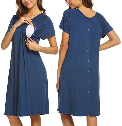 Ekouaer Womens Maternity Sleep Shirt Short Sleeve Midi Labor and Delivery Dress for Summer(Royal Blue,XXL)