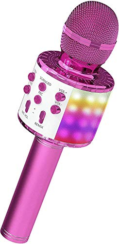 ASENTER Micrófono Inalámbrico Bluetooth Karaoke con luces LED,Infantil Portátil de mano Speaker Machine Birthday Home Party Compatible con Android/iOS/PC/AUX o Teléfono Inteligente (Pink)