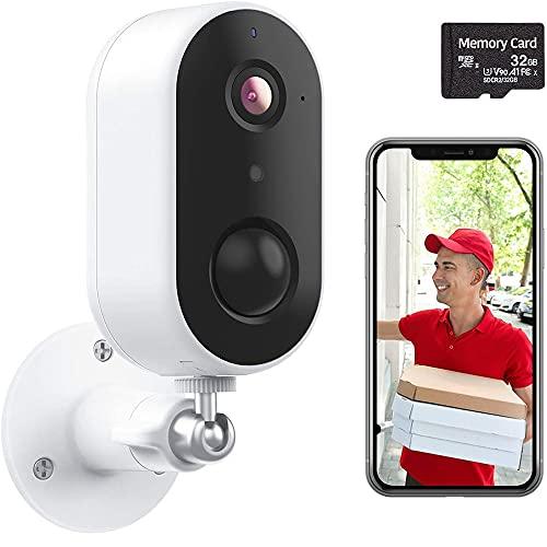 Cámara de seguridad, E T EASYTAO cámara wifi de seguridad para exteriores para el hogar con batería recargable con Tarjeta SD de 32G, 1080P FHD, WiFi 2.4G, IP65 a prueba de...