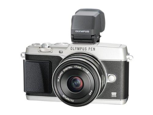 Olympus E-P5 Systemkamera (16 Megapixel, 7,6 cm (3 Zoll) Touchscreen, HDMI, WiFi) inkl. 17mm 1:1.8 Objektiv Kit und hochauflösender VF-4 elektronischer Sucher Silber