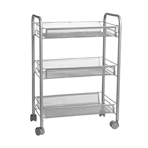 Amazing Deal N/P Utility Carts Mesh Wire Basket Rolling Cart Kitchen Storage Cart with Wheels Shelvi...
