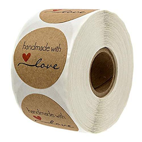 VOANZO 1000Pcs Kraft Hecho a mano con amor Etiqueta redonda para hornear Etiqueta autoadhesiva Etiquetas adhesivas redondas hechas a mano Etiquetas Rollo Decoración para regalos hechos en casa