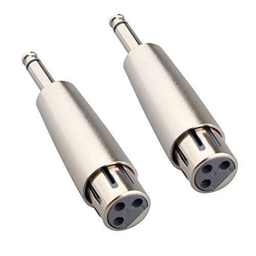 """Jopto Lot de 2 Adaptateurs XLR vers Femelle 6,35 mm Jack Mono 6,35 mm Adaptateur TRS Mâle 1/4"""" Mâle Connecteur Audio Stéréo Micro"""