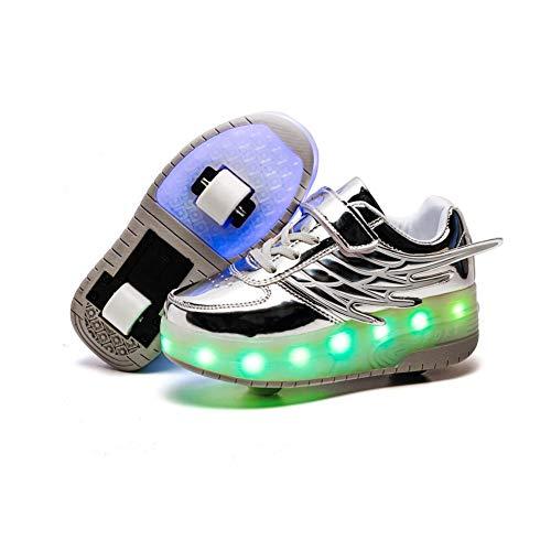 JESU Unisex Kinder LED Skateboard Schuhe, Aufladbare USB Rollschuhe, Blinken Skateboardschuhe Leuchtend Rollenschuhe Outdoorschuhe Gymnastik Mode Turnschuhe,Silber,28