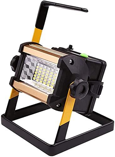 NYZXH Floodlight de Trabajo Recargable de 50W LED Portátil Outdoor IP65 Luz de Trabajo a Prueba de Agua con lámpara de Emergencia de Flash Azul Rojo, 1000 lúmenes, Foco de 6500k para Garaje, Camping,