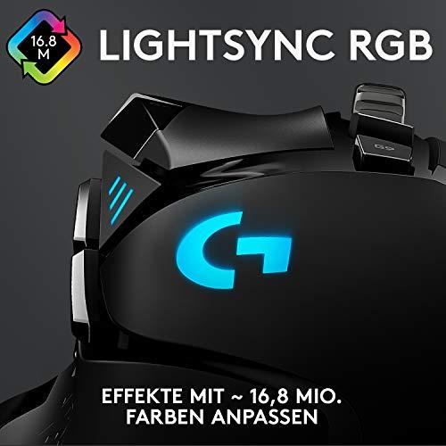 Logitech G502 HERO High-Performance Gaming-Maus mit HERO 25K DPI optischem Sensor, RGB-Beleuchtung, Gewichtstuning, 11 programmierbare Tasten, anpassbare Spielprofile, PC/Mac, Schwarz - 7