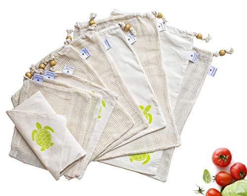 Ecozoi Reusable Produce Bags 10 Piece Set - 6 Mesh Bags3 Muslin Bags1 Swaddle - Organic Cotton Vegetable Bags Mesh Cotton Produce Bags