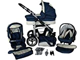 Kinderwagen 3in1 2in1 Set Isofix Buggy Babywanne Autositz D-Deluxe by SaintBaby Marineblau & Creme 3in1 mit Babyschale