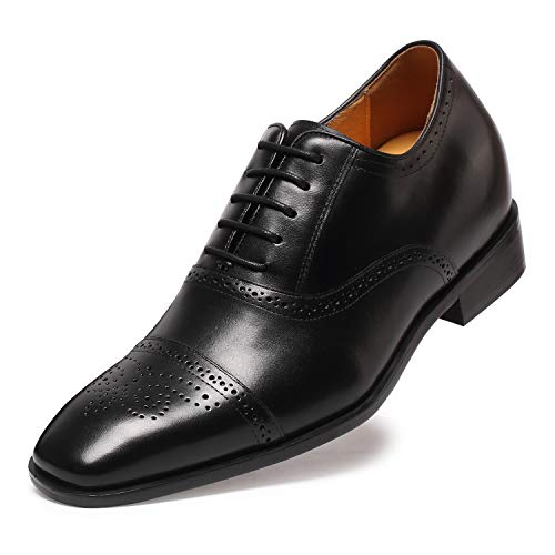 CHAMARIPA Herren Oxford Wingtip Elevator Schuhe aus Kalbsleder Schnürhalbschuhe - 7 cm höher - K6531 (43, schwarz)
