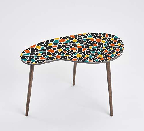 Queence Mesa de diseño, mesa auxiliar, mesa de centro, diseño retro, forma de riñón, mesa de café, mesa para teléfono, tamaño: 60 x 40, color: naranja, negro, verde y mosaico