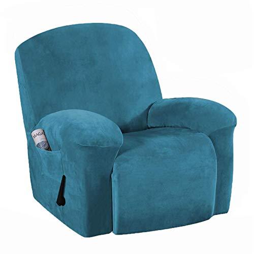 Fundas elásticas para Silla reclinable, 1 Pieza, Fundas de Spandex Jacquard para sofá, Funda reclinable, Protector de Muebles con Bolsillo Lateral Inferior elástico para Sala de Estar (Azul