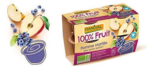 DANIVAL Dessert Pomme Myrtille sans sucres ajoutés 4x100G Bio -