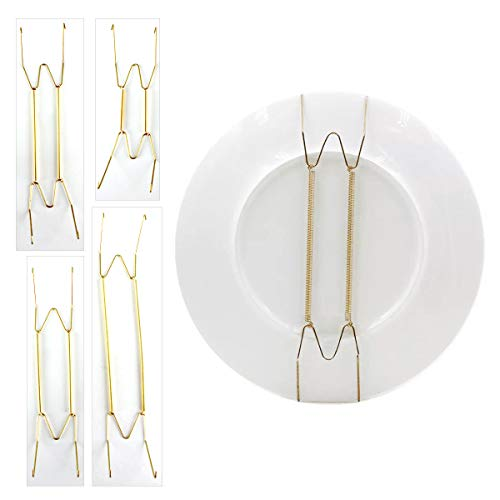 16 Pcs Plate Hangers Wall Plate Hangers 6 8 10 12 Inch Stainless Steel Wall Plate Holder Dish Display Holder Fit for Decorative Plates Antique China Antique Plates and Arts 4Sizes 16Pcs