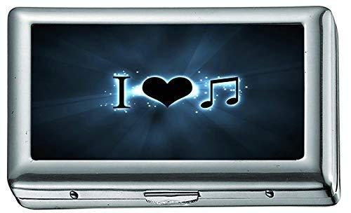 Zigarettenschachtel, Creative I Love Music Zigarettenetui / -schachtel, Kreditkartenetui für Damen Herren