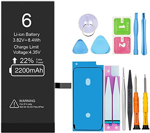 Battery for iPhone 6(Upgraded),2200mAh Replacement Battery with High Capacity for iPhone 6 with Full Remove Tool Kit (Only for 6) - 12 Months Warranty
