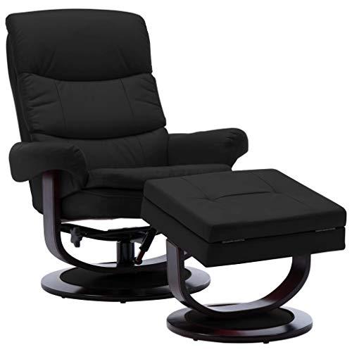 vidaXL - Sillón reclinable de madera con reposapiés, color negro