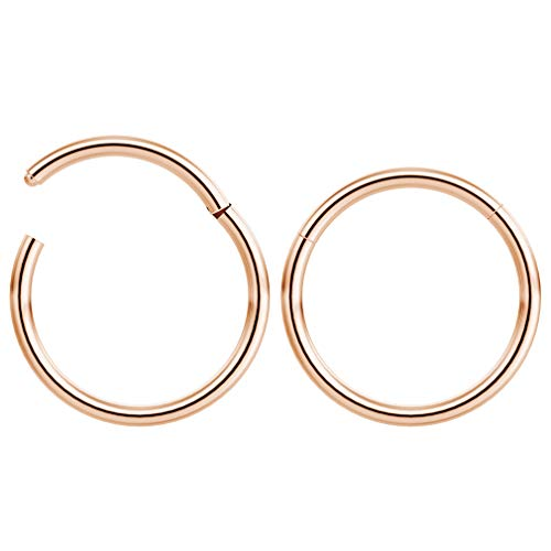 Bling Piercing 2pc 1.2mm 16g Hinged Clicker Captive Bead Ring Rose Gold 12mm Helix Earring Nose Hoop Rook Cartilage Tragus Lip Septum Forward Eyebrow Ear Lobe Nostril Rings Seamless Surgical Steel