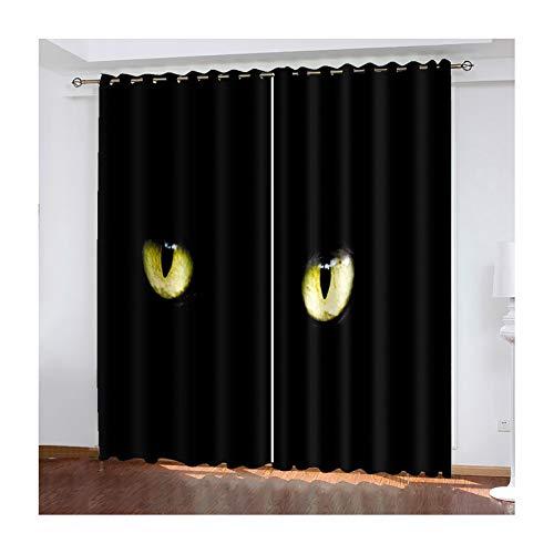 AMDXD 2 Paneles Cortina Salon Poliester, Cortinas 3D Salon Modernas Gato Ojos Modernas Decoración para Habitación, Negro, 214cm (W) x 274cm (H)