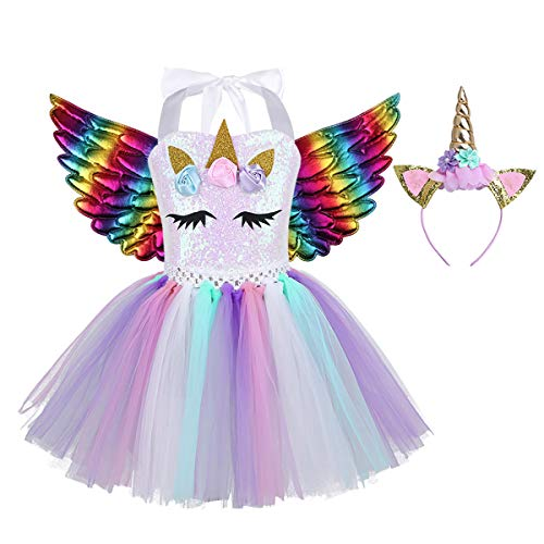 iEFiEL Einhorn Kostüm für Kinder - komplettes Prinzessin Kostüm Set für Mädchen Kleid mit Blumen Haarreif Zu Karneval Cosplay Fasching (104-110, Bunt mit Pailletten A)