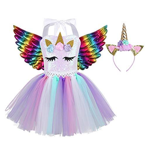 Freebily Disfraz de Unicornios con Diadema Alas Nias Tut Vestido Princesa Lentejuelas de Fiesta Ceremonia Vestido Princesa Nia para Halloween Carnaval Colorful 8-9 aos