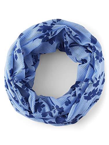 TOM TAILOR Damen Accessoire Gemusterter Loopschal blue navy floral design,ONESIZE