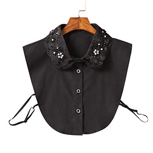 Faux col de style vintage pour femme, demi-col de chemise amovible à assortir à vos pulls, Black with Diamond Bead