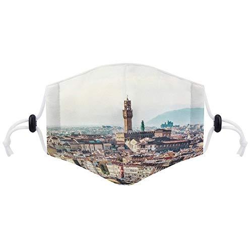 Gesichtsschutz (mit zwei Filtern) Florenz Italien Kirche Toskana Panorama Türme Gesichtsschutz Unisex Verstellbar Atmungsaktiv Staubdicht Mundschutz