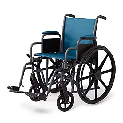 """Medline Folding Wheelchair with Desk-Length Arms & Swing-Away Leg Rests, 18"""" X 16"""" Seat, Microban Antimicrobial Protection, Gray Frame, Teal Nylon Upholstery by Medline Industries Healthcare"""