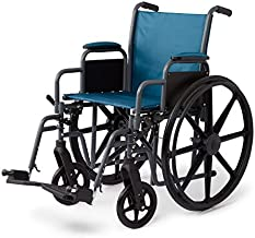 """Medline Folding Wheelchair with Desk-Length Arms & Swing-Away Leg Rests, 18"""" X 16"""" Seat, Microban Antimicrobial Protection, Gray Frame, Teal Nylon Upholstery"""