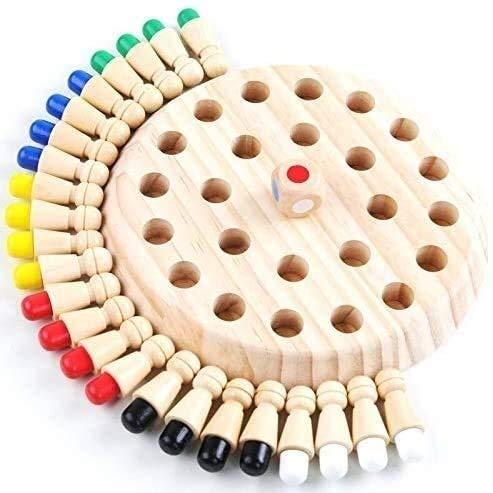 SJZLMB Tablero de ajedrez Chess Checkers y Backgammon Kids Party Game Memoria de Madera Match Match Chess Juego Diversión Block Board Juego Educativo Color Cognitivo Habilidad Juguete para niños