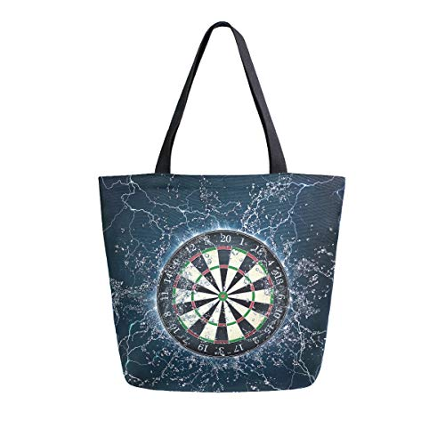 XXNO Dartboard Wasser Canvas Tote Bag Große Kapazität Schultertasche Einkaufstasche Handtasche Geldbörse für Arbeit Strand Reisen Lebensmittel