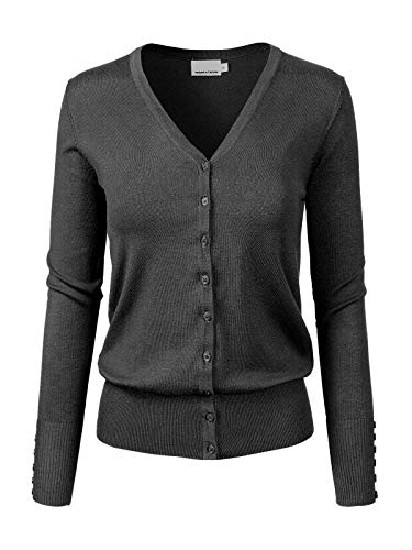 Design by Olivia Women's Classic Button Down Long Sleeve V-Neck Soft Knit Sweater Cardigan Charcoal L