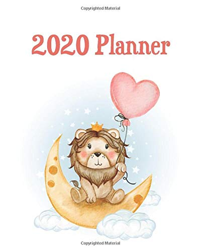 2020 Planner: Lion or Lioness on Crescent Moon with Red Heart Balloon Watercolor Illustration - Calendar Views with Inspirational Quotes and Holidays