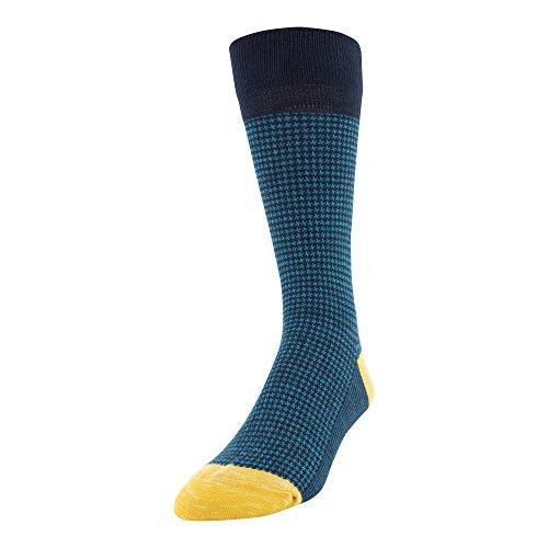 Gold Toe mens Patterned Fashion Crew Socks, 1 Pair Dress Sock, Houndstooth Blue, Shoe Size 6-12.5 US