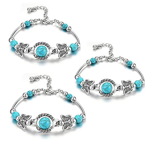 wsxc 3Pcs Women's Retro Ethnic Style Bracelet Carved Butterfly Bracelets Boho Jewelry Bracelets, Adjustable Beaded Bangle Natural Turquoise Stone Bracelets