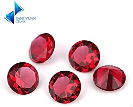 Calvas 1~15mm Rose Red Color Round Shape Machine Cut Loose Glass Stone Synthetic Gems for Jewlry - (Item Diameter: 11mm (30pcs))